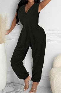 Women Loose Pocket Sleeveless Casual Jumpsuit AYW6005