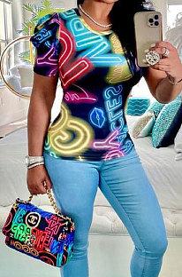 المرأة الملونة رسالة طباعة قصيرة الأكمام أزياء كشكش تي شيرت BLK1109