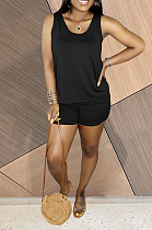 Summer Casual Pure Color U-Neck Vest Soft Shorts Sets HAA9082