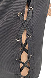 نادي المرأة العيينة ضمادة مثير ريبر بدوره إلى أسفل الياقة بلا أكمام فستان قصير MLM9067