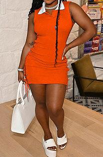 Club Women Eyelet Bandage Sexy Ribber Turn-Down Collar Sleeveless Mini Dress MLM9067