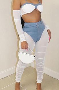 أزياء Euramerican سستة صافي الغزل تقسم عارضة السراويل LSZ9093