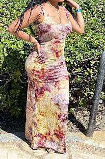 أزياء مثير الطباعة منتصف الخصر فستان ميدي JR3614