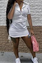 Fashion Deep V Shirt Short Sleeve Dress C3056