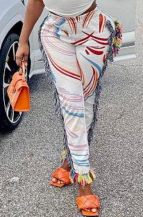 Casual Women Bottom Fashion Colorful Tassel Straight Long Pants MLM9068