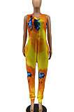 Trendy Colorful Tie Dye Cotton V Neck Sleeveless Loose Casual Jumpsuit AA5243