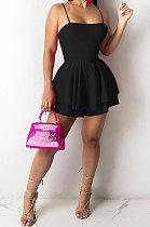 Pure Color Condole Belt Falbala Mini Dress JR3618