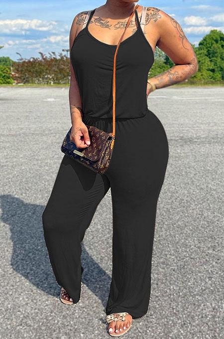 Euramerican المرأة نقية اللون القطن عارضة العصرية حزام العزاء سحب واسعة الساق حللا MLM9066