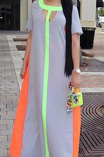 Euramerican المرأة أزياء تقسم قصيرة الأكمام فستان طويل OMM1057