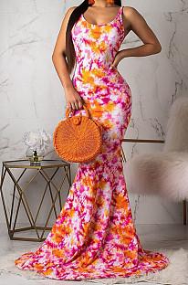 فستان طويل بطبعة أورامريكان فاشون بدون ظهر OMM1061