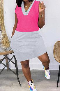 فستان قصير بجيب متباين اللون متباين QHH8644