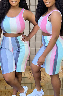 Euramerican Fashion Stripe Print Stripe سترة بدون أكمام من قطعتين TZ195