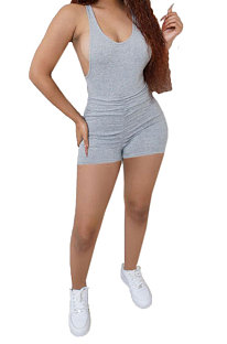 Sexy Ruffle Deep U Backless Cultivate One's Morality Romper Shorts BE8040