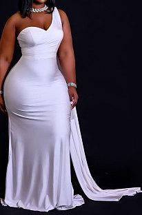 فستان نسائي طويل بدون انتظام لون نقي بكتف واحد وبسيط QHH8647