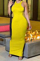 Fashion قبالة الكتف بلا أكمام فستان طويل لون نقي AMM8352