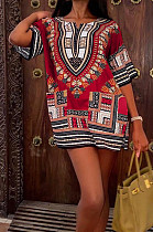 Fashion Casual Summer African Totem Dress W8389