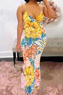 Euramerican Condole Belt Printing Deep V عارية الذراعين فستان طويل مثير JZH8045
