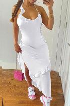 فستان متوسط الطول بتفاصيل مكشكشة مكشكش من Pure Color NK245