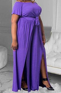 أزياء فضفاضة عارضة لون نقي ربط زائد مجموعات السراويل MQX2351