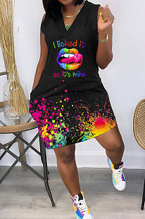 أزياء المرأة عارضة سبلاش الحبر الشفاه فراشة الطباعة فستان قصير GHH050