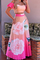 Euramerican Women Hurnt Flower Skirts Sets JZH8048