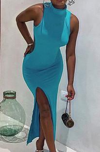 أزياء مثير بلا أكمام فتح شوكة فستان طويل SDE2116
