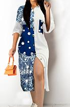 Euramerican Contrast Color Print Shirt Long Dress L0351