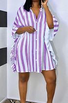 Casual Stripe Flornce Loose Sports Shirt Dress L0350