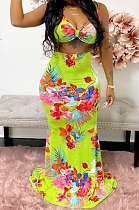 Euramerican Women Chest Wrap Condole Belt Skirts Sets JZH8058