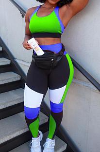 مجموعات سروال طويل مثير باللون التباين Yoge Sports Vest XUY9105