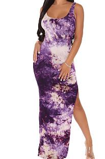 Fashion Sexy Digital Print Vest Long Dress SMR10123