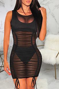 Fashion Sexy Stretch Net Yarn Drawsting Dress SMR10077