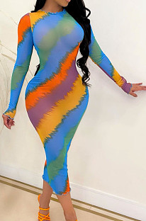 Fashion Sexy Perspective Colorful Print Long Sleeve Dress QZ6127