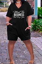 Fashion Women V Neck Printing Loose Ropmer Shorts AYM5022