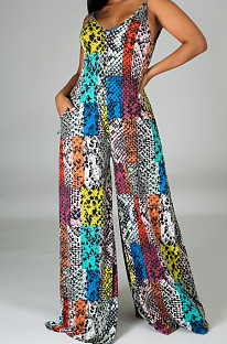 Fashion Sexy Digital Print V Neck Sling Jumpsuits SMR10139