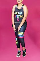 Sports Colored Letter U-Neck Printed Vest Pants Sets AZM9025