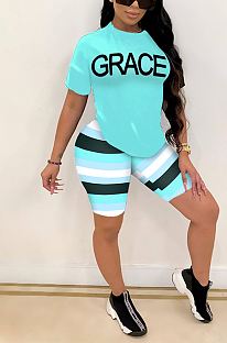 Letter Print Striped Stylish Short Sleeve Shorts Sets SFM0254