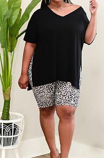 Fashion Big Yards Casual Open Fork T Leopard Print Shorts Sets MK055