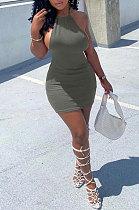 المرأة العصرية عارية الذراعين معقود الشريط حفرة بار لون نقي مثير البسيطة اللباس AYM5023