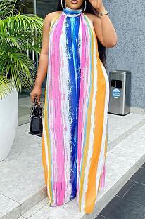 Summer Casual  Stripe Print Loose Long Jumpsuits MK050