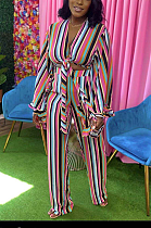 Fashion Stripe Binding Sexy Loose Long Sleeve Pants Sets AZM9029