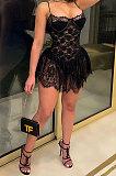 فستان قصير مثير مكشكش من الدانتيل بحزام عزى CCY8968