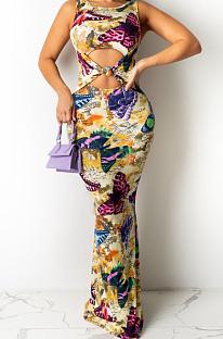 أزياء تمتد الطباعة الرقمية بلا أكمام فستان طويل QZ4346