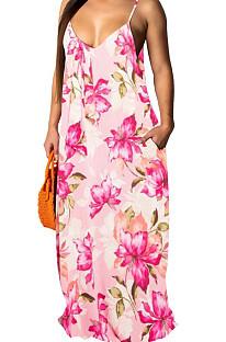 Fashion Summer Casaul فضفاض الخامس الرقبة الرافعة فستان طويل SMR10198