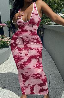 فستان نسائي طويل بربطة عنق على شكل حرف V موديل Q882