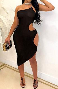 فستان نادي قصير مثير بفتحات مفرغة لون نقي SH7263