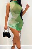 مثير شبكة المتباين اللون رسم المرأة بلا أكمام فستان BLK2110