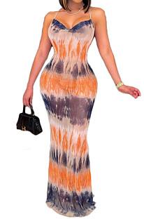 مثير أزياء طباعة الخامس الرقبة الرافعة عارية الذراعين فستان طويل BLK2111