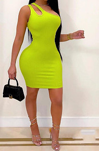 Trendy Package Buttocks Inclined Shoulder One Shoulder Bandeau Bra Cultivate One's Morality Screw Thread Mini Dress AYA7018