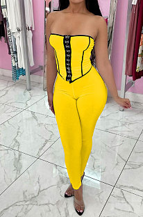 Color Matching Top Vest Backless Pure Color Pants Sets MR2098